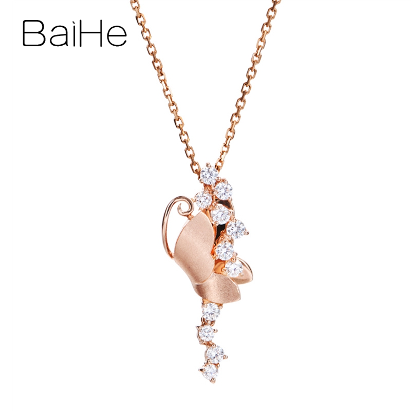 BAIHE Solid 14K Rose Gold Total 0.38ct H/SI Natural Diamonds Trendy Gift Wedding Fine Jewelry beautiful butterfly Gift Pendant