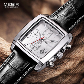 Megir Casual Watches Men Luxury Fashion Leather Strap Waterproof Quartz Watch Top Brand Military Sport Chronograph Wristwatch