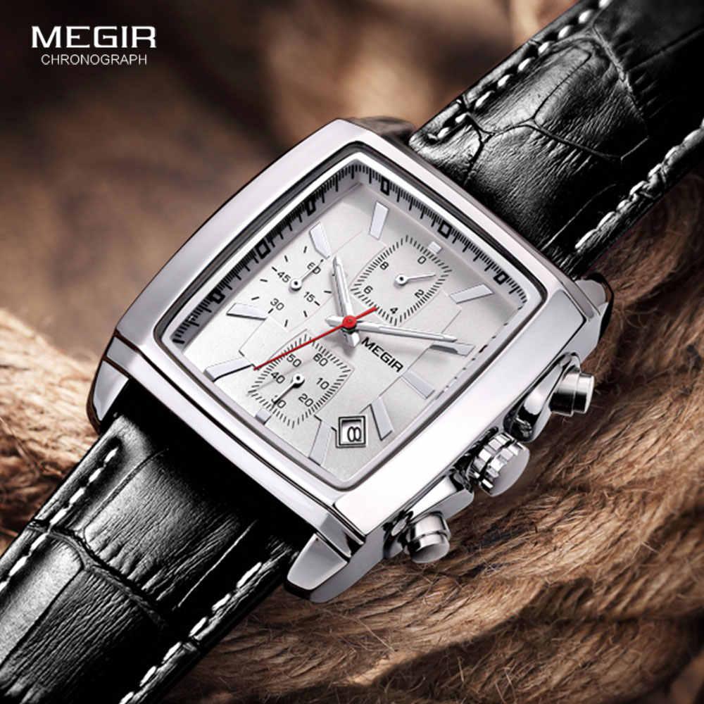Megir relógios masculinos, relógios casuais luxuosos, pulseira de couro, relógio de quartzo à prova d'água, marca de topo, militar, esportivo, cronógrafo, relógio de pulso