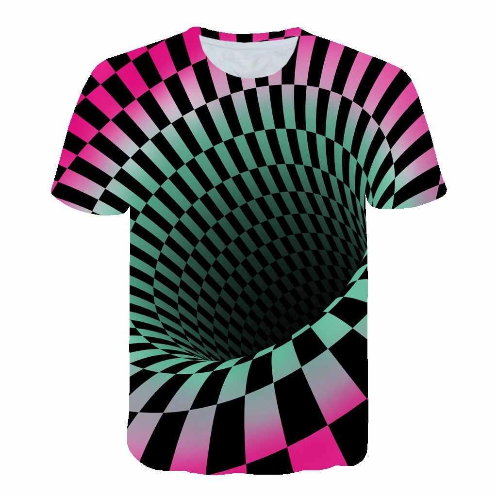2019 Newest Summer Style Fashion Print Short Sleeved Tees Men Green And Red Vertigo Plaid Hypnotic Colorful Printing 3d T Shirt