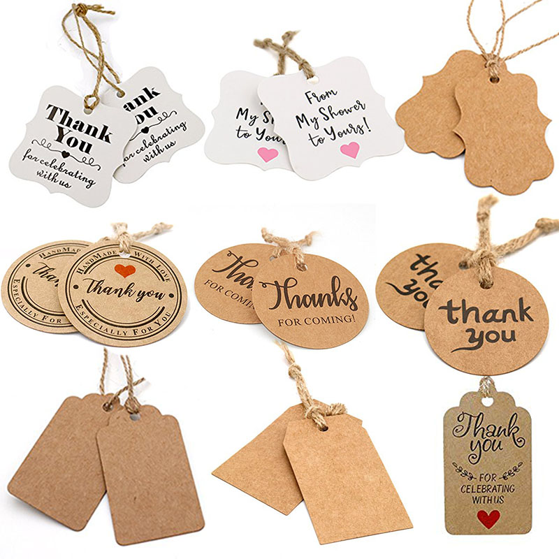 100pcs kraft paper thank you tags for wedding decoration party favors tags handmade labels jewelry charms price tag DIY decor
