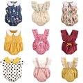 Новое поступление, цельнокроеная одежда с оборками для маленьких девочек, летний детский комбинезон без рукавов для новорожденных, комбине...