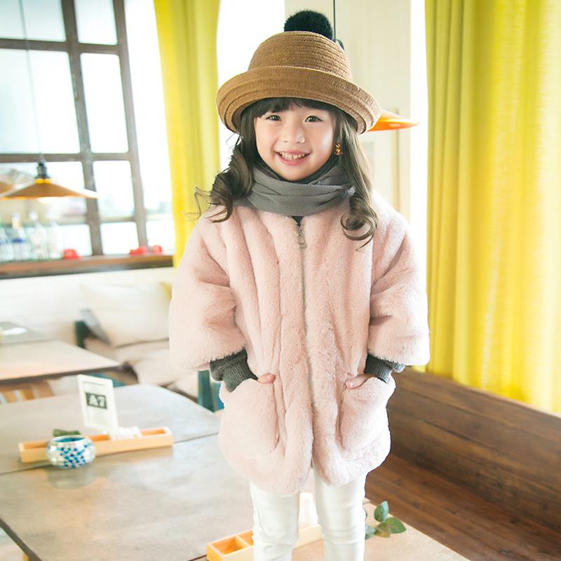 2-8 years Children's Faux Fur Imitation Fur Coat for Girls three quartes sleeve Thicker kid Winter Baby warm coat chaqueta bebe