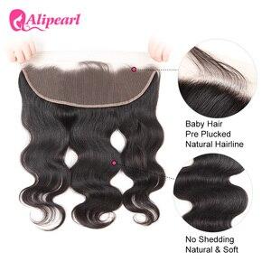 13X4 предварительно выщипанные кружевные фронтальные волосы с детскими волосами, волнистые волосы Remy, натуральный цвет, волосы ALI PEARL