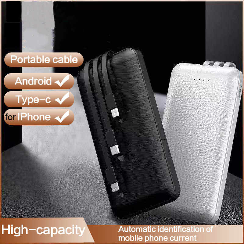 Banco de energía portátil de 30000mAh, Banco de energía con 3 Cables integrados, cargador de batería externo para iPhone, Xiaomi, Mi banco de energía