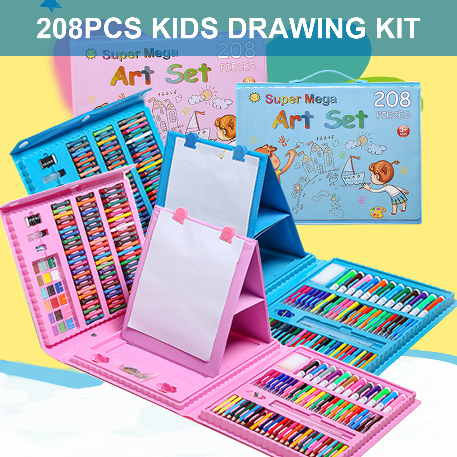 208PCS Kids Children Painting Drawing Tools Set With Colored Pencils Marker Pens Crayons For Home School Kindergarten Supplies