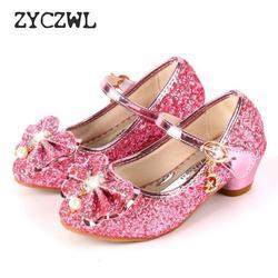 Весенняя детская обувь; танцевальные сандалии принцессы на высоком каблуке для девочек; детская обувь; модная блестящая кожаная обувь для д...