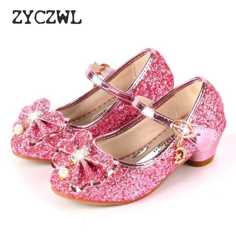 Spring Children Shoes Girls High Heel Princess Dance Sandals Kids Shoes Glitter Leather Fashion Girls Party Dress Wedding Shoes