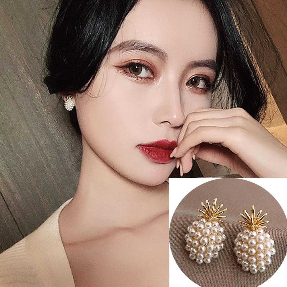 Cute Simple  Small Pearl Pineapple Temperament Short High Sense Earrings  Female Student Fresh Asymmetric Earrings