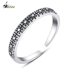 цены SaiSee 925 Sterling Silver Geometry Vintage Adjustable Open Finger Rings for Women Retro Silver Jewelry Female Gift Dropshipping