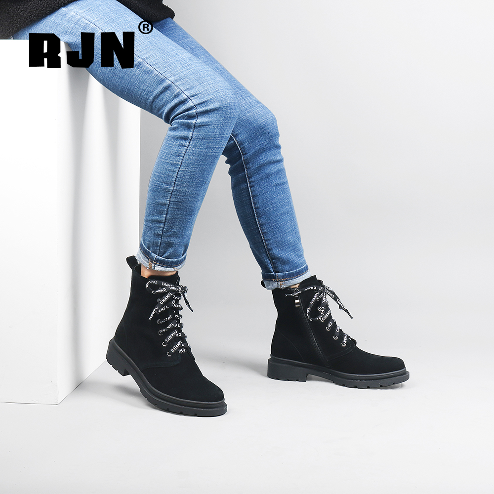 Buy RJN Comfortable Round Toe Ladies Ankle Boots Strange Strap Design Square Med Heel Shoes Kid Suede Zipper Women Winter Boots R20