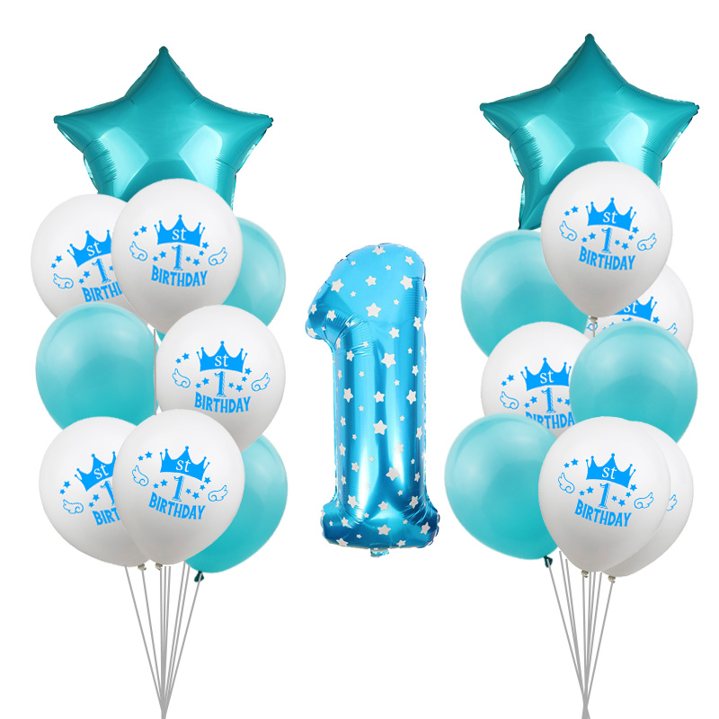 ZLJQ New 1st <font><b>Birthday</b></font> <font><b>Decoration</b></font> Balloons Pink Blue Star Foil balloon Banner First <font><b>Birthday</b></font> Boy <font><b>Girl</b></font> My 1st One <font><b>1</b></font> Year Supplies image