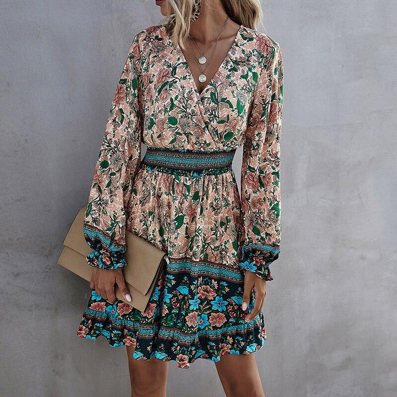 Mini abito a trapezio a vita alta con volant a vita alta da donna per donna abito vintage a maniche corte con stampa bohemien casual donna 2021