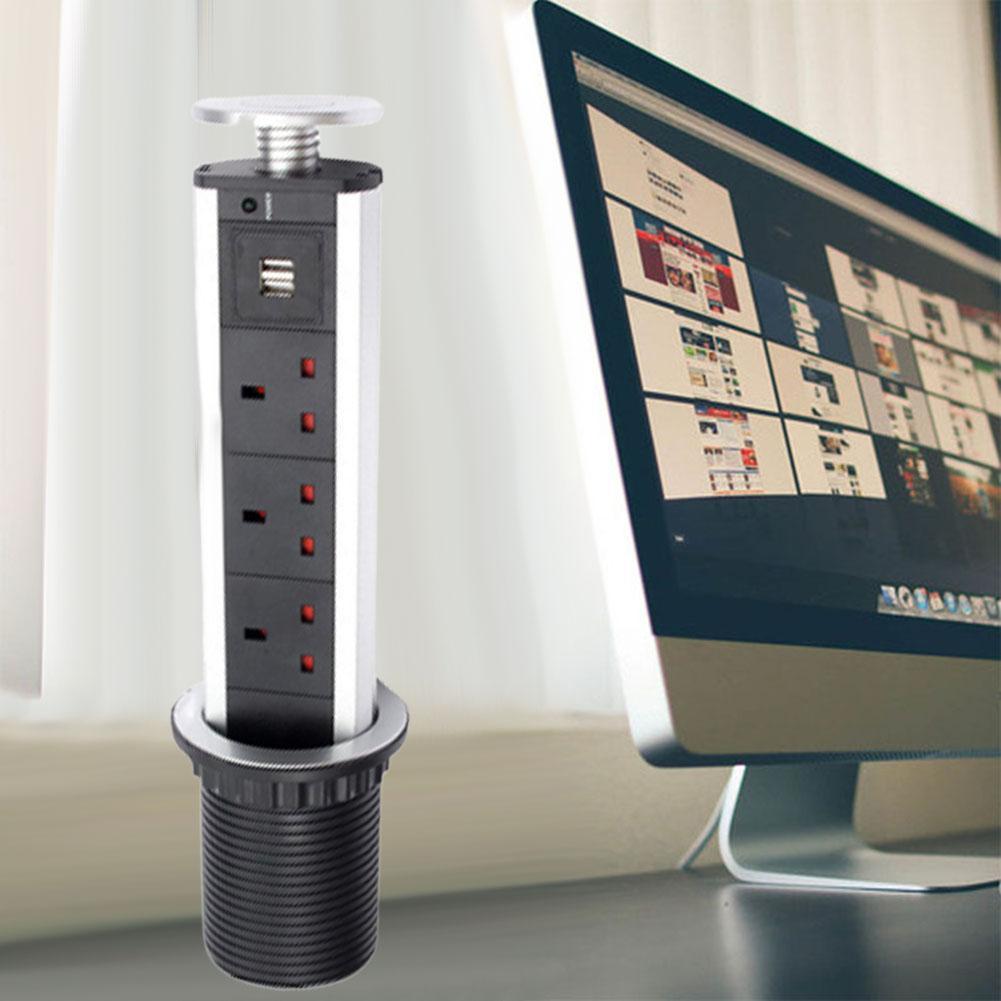 UK/US Plug Kitchen Office Table Hidden Electric Socket USB Port Power Outlet