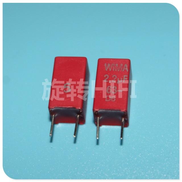 10PCS אדום חדש WIMA MKS2 63V 2.2UF PCM5 2u2 2200nf 2.2U63V מכירה לוהטת 225/63V