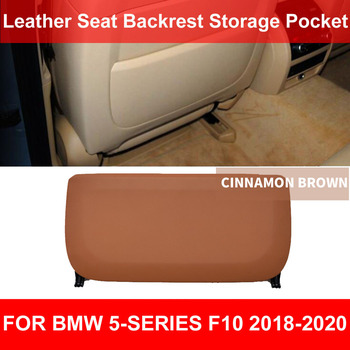 LHD RHD Car Seat Back Backrest Panel Pocket Leather Cover Trimmer Cinnamon Brown For BMW 5-series F10 F11 F18 520 525 2018-2020