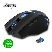 ZEALOT F 16 ratón óptico inalámbrico de 2400 DPI para juegos 2,4 GHz ratón portátil para juegos con receptor USB para ordenador PC y portátil