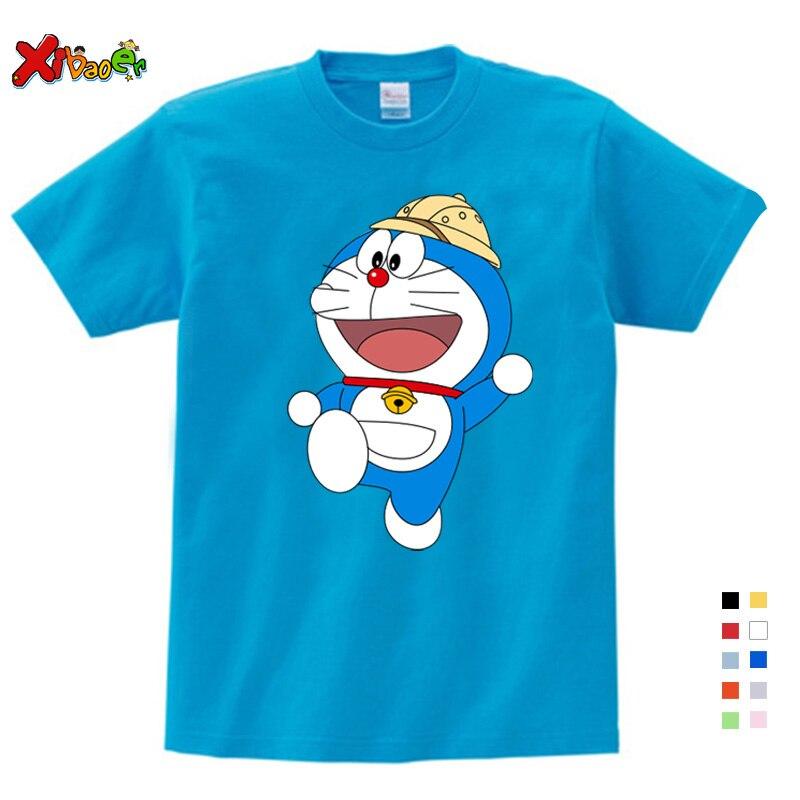 New Doraemon T Shirt Children Japan Anime T-shirt Summer Short Sleeve Cotton Doraemon T Shirts Tops For Girl And Boy Tees
