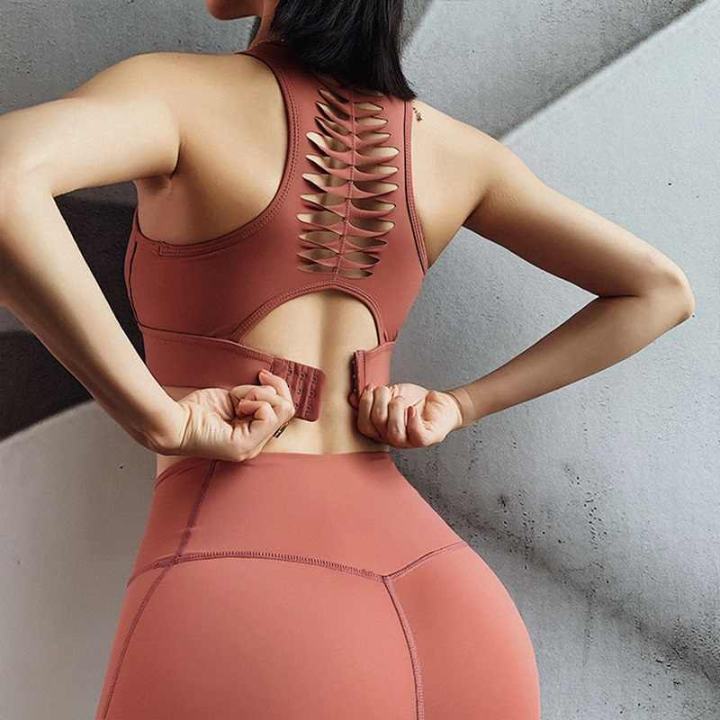 Sexy Back Sportbeha Vrouwen Solid Fitness Yoga Crop Top Push Up Ondergoed Gym Running Schokbestendig Shirt Workout Athletic Vest xl