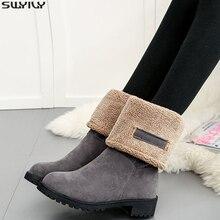 Замшевые женские зимние ботинки SWYIVY на танкетке из коровьей кожи, женские теплые ботинки с коротким плюшем для снега 2019, женские ботинки, черная обувь, женские резиновые ботинки
