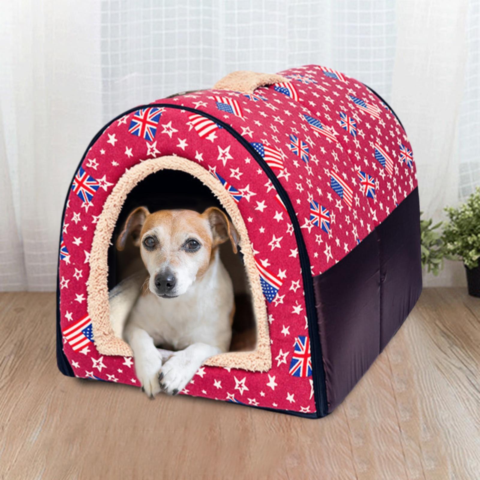 Lit pour chat 2 en 1, grotte intérieure pliable en toile chaude rouge, niche pour petit chien, tapis de couchage pour animaux de compagnie, double usage