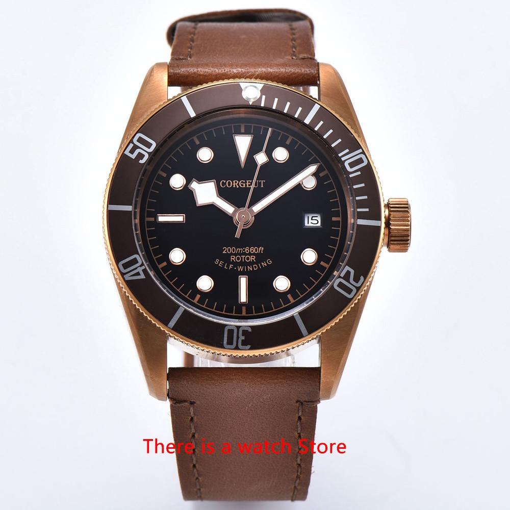 Corgeut 41mm Automatic Watch Men Military Black Dial Wristwatch Leather Strap Luminous Waterproof Sport Swim Mechanical Watch 7