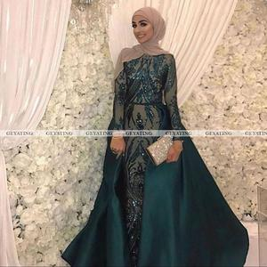 Image 5 - Dubai Emerald Green One Shoulder Evening Dress Detachable Train Long Sleeve Mermaid Arabic Formal Dresses Muslim Long Party Gown