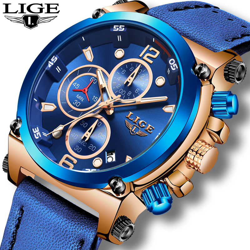 Relogio Masculino 2020 LIGE Mens Watches Top Brand Luxury Fashion Business Quartz Watch Men Casual Leather Waterproof Clock+Box|Quartz Watches| |  - title=