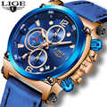 Relogio Masculino 2020 LIGE Mens Watches Top Brand Luxury Fashion Business Quartz Watch Men Casual Leather Waterproof Clock+Box
