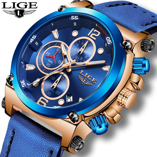 Relogio Masculino 2020 LIGE رجالي ساعات العلامة التجارية الفاخرة موضة الأعمال ساعة كوارتز الرجال جلدية عادية مقاوم للماء على مدار الساعة + صندوق
