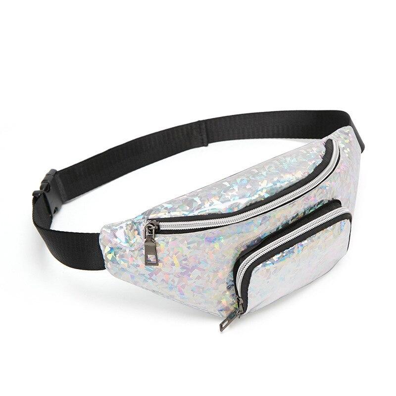 Women Girls Waist Fanny Pack Belt Bag Pouch Hip Bum Bag Travel Sport  Decoration Of Broken Glass  Double Pocket Purse Cool Packs