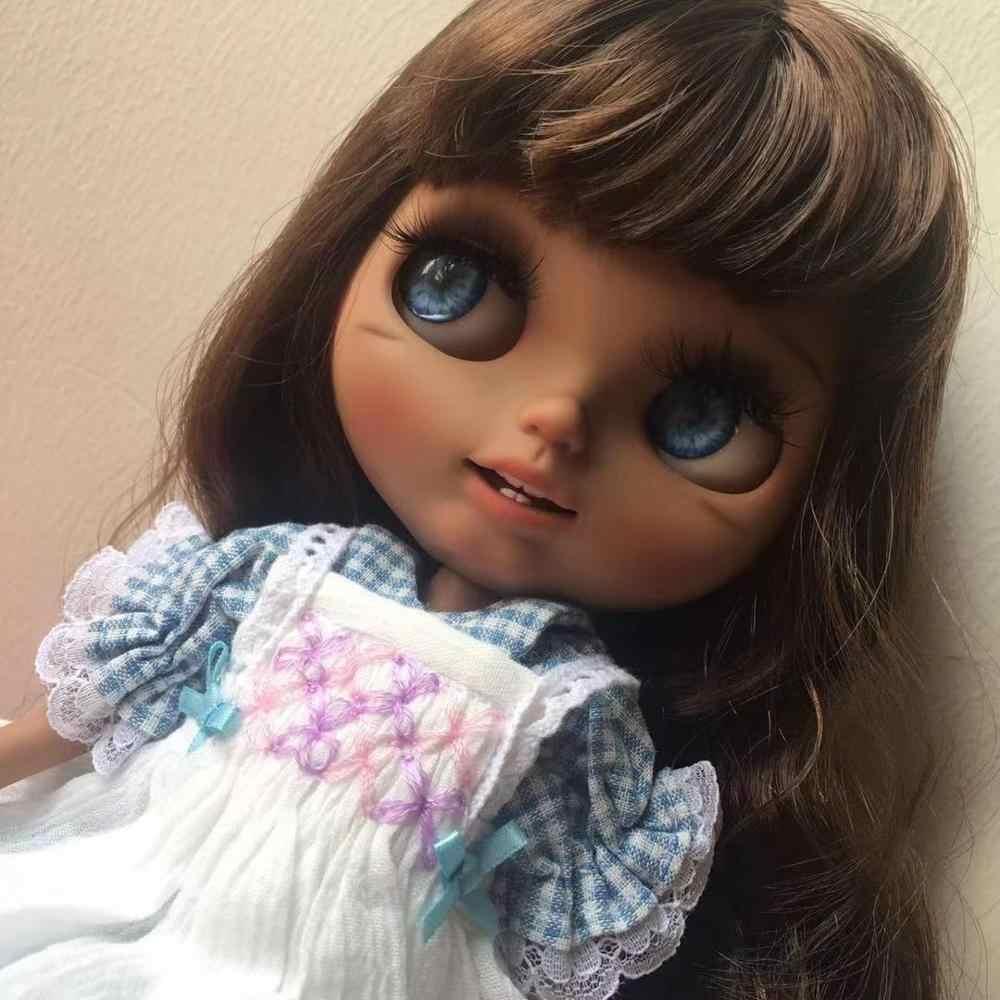 Neo Blyth Pop Nbl 1/6 Bjd Aangepaste Blyth, grote Ogen Doll Make Ball Jointed Doll Met Pruik Matte Gezicht Blackskin Meisje 7.29.7