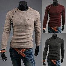 ZOGAA мужчины свитер свободного покроя О-образным вырезом пуловер свитер с карманом Мужская одежда осень твердый тонкий тянуть роковой кашемир тонкий свитер топы