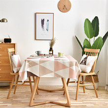 Geometric Triangle Tablecloth Rectangular Waterproof Table Cloth Decorative Table Cover Pink Tafelkleed Mantel Mesa Nappe цена 2017
