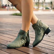 цены LALA IKAI Women Autumn Winter Ankle Boots Lace-up Hollow Waterproof Shoes Pu leather Female Zipper Fringe Chelsea Boots WC4747-4