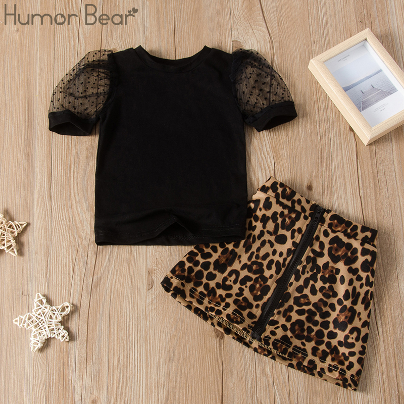 Humor Bear Girls Sets Summer Fashion Toddler Kids Clothes Lace Sleeve T-Shirts Tops+Leopard Print Skirts 2pcs Children Clothes 1
