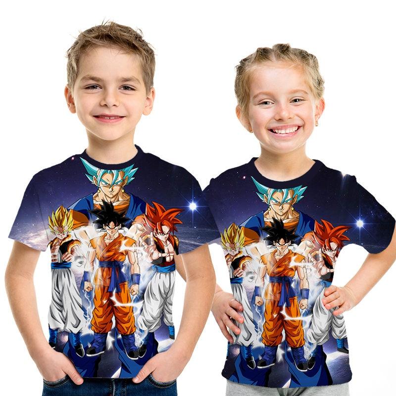 2019 New Dragon Ball Z T Shirts Children Summer 3D Print Super Saiyan Goku Black Zamasu Vegeta Dragonball Casual Tee Shirt