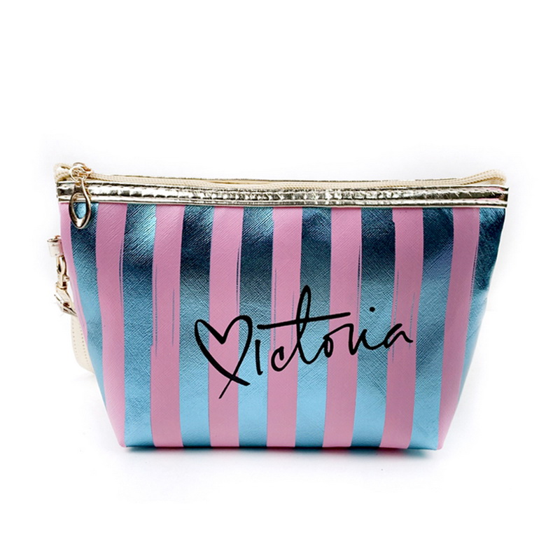Portable Makeup Case  Women Cosmetic Bags 2019 New Storage Bags Pouch Travel Organizer Purse Wristlet With Zipper Striped Bags