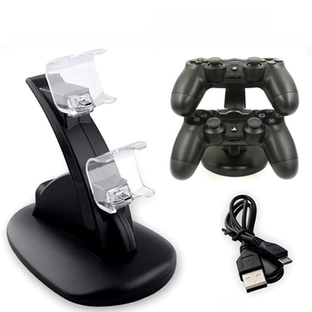 цена на PS4 Controller Charger Stand Station For Sony Playstation 4 PS4/PS4 Pro/PS4 Slim Game Controller Dual USB LED ps 4 Charging Dock