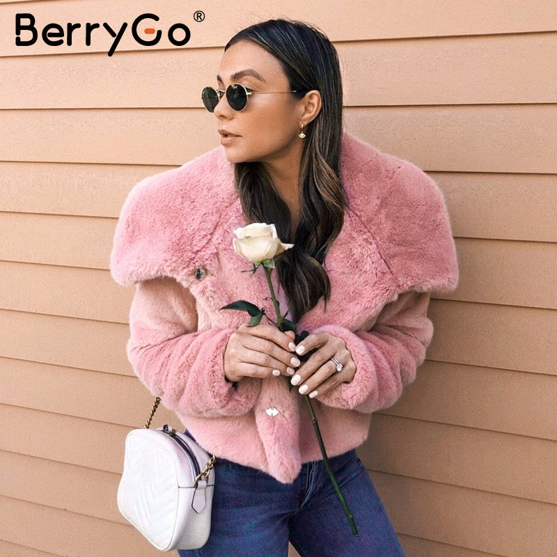 BerryGo Faux Fur Winter Pink Coat Women Long Sleeve Soft Autumn Short Female Jacket Fur Coats Casual Thick Ladies Warm Overcoats