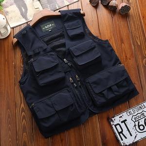 Image 2 - Outdoor Mens Tactical Fishing Vest jacket man Safari Jacket Multi Pockets Sleeveless travel Jackets 5XL 6XL 7XL, 7898m
