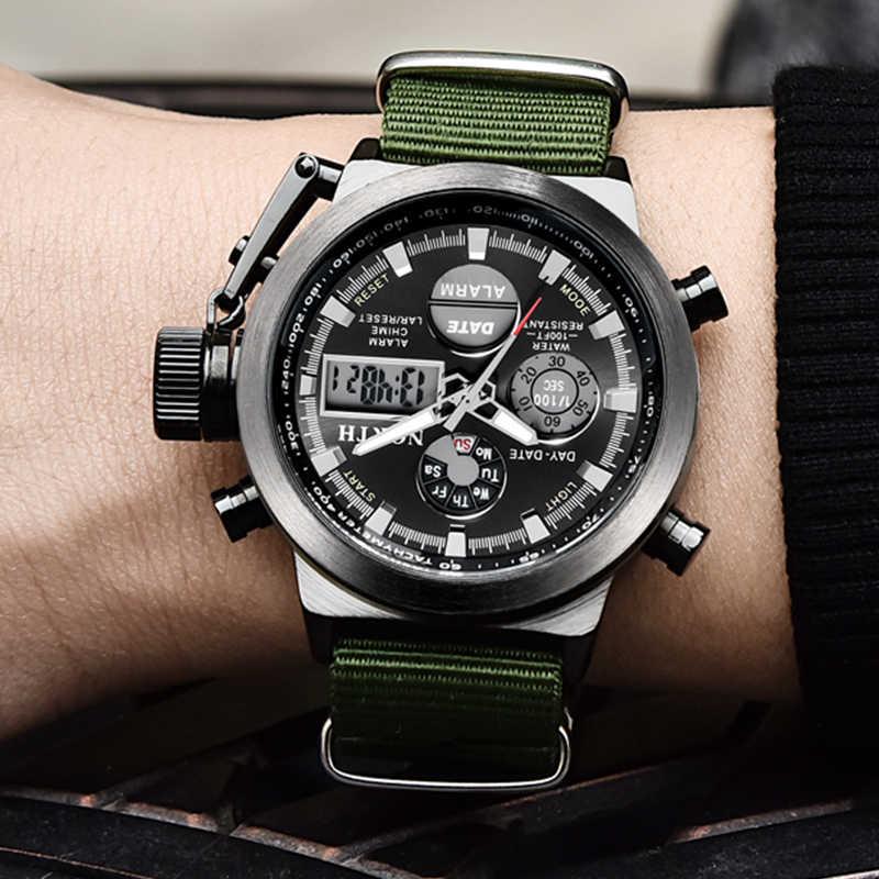 NORTH Luxury แบรนด์นาฬิกาควอตซ์ชายนาฬิกากันน้ำกลางแจ้งกีฬาทหารทหารนาฬิกาผู้ชาย Analog นาฬิกา Relogio Masculino