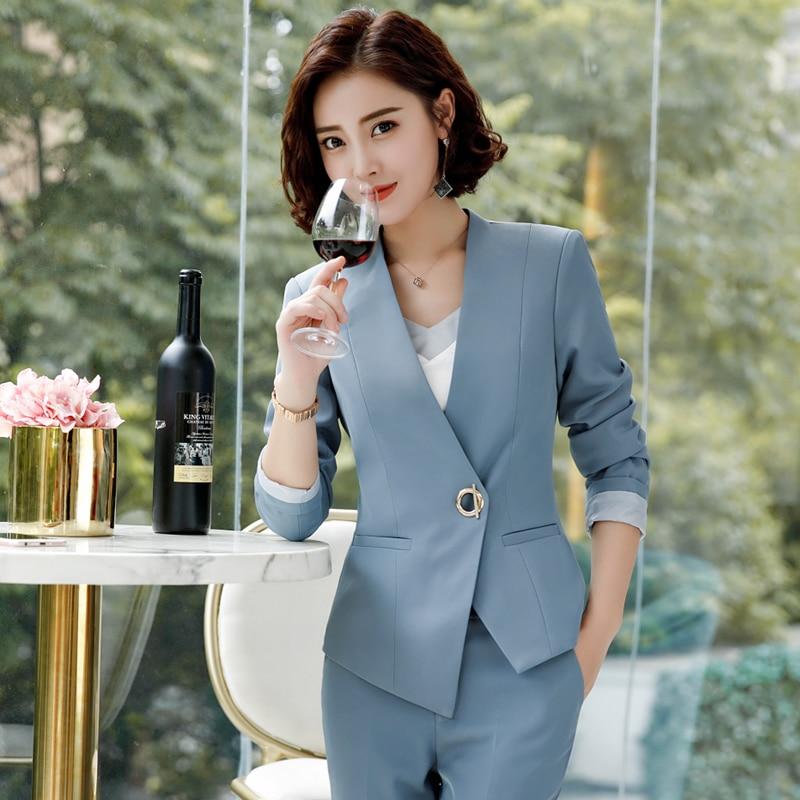 Elegant Pant Suits Women Business Work Office Lady Formal Pants Jacket Set Fashion Suit Female 2019 Autumn Winter Plus Size 4XL 30