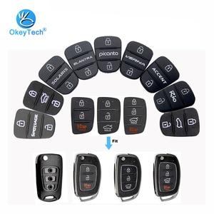 Image 1 - OkeyTech funda plegable de 3 botones para llave de coche, funda de goma para llave, para Hyundai, Picanto, Solaris, RIO, Sportage, Elantra, Kia