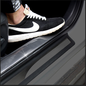 Image 1 - 炭素繊維ゴム成形ストリップソフト黒トリムバンパーストリップ DIY ドア敷居プロテクターエッジガード車のステッカー車のスタイリング 1 メートル
