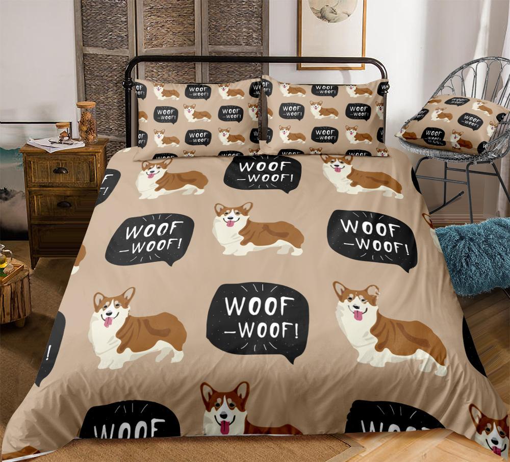 Cute Dog Duvet Cover Set Welsh Corgi Pembroke Bedding Kids Boys Girls Cartoon Pet Quilt Cover