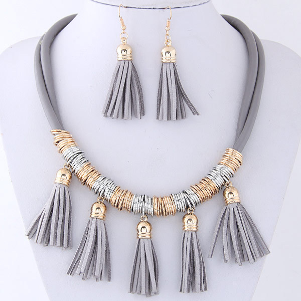 Multi-layer With Tassels Necklace and Earrings Set