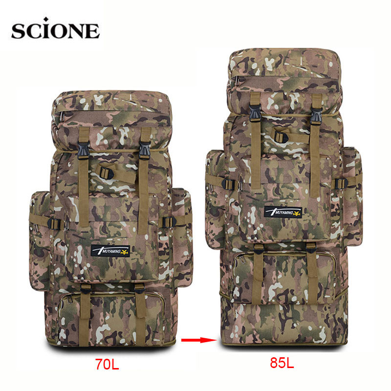 70L 85L Tactical Bag Military Backpack Mountaineering Men Travel Outdoor Sport Bags Molle Hunting Camping Rucksack 2019 XA686WA
