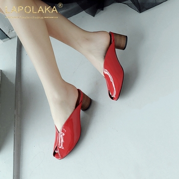 Lapolaka Brand New 2020 Genuine Cow Leather Summer Pumps Mules Woman Shoes Strange Style Slip On Black Red Shoes Women Pumps