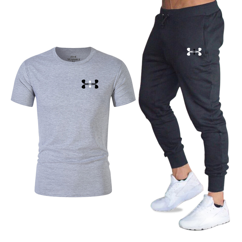 New Fashion Men's 2020 Autumn And Spring Sports Suit Sports T-shirt Sports Casual Trousers Men's 2 Sets Of Slim Sportswear